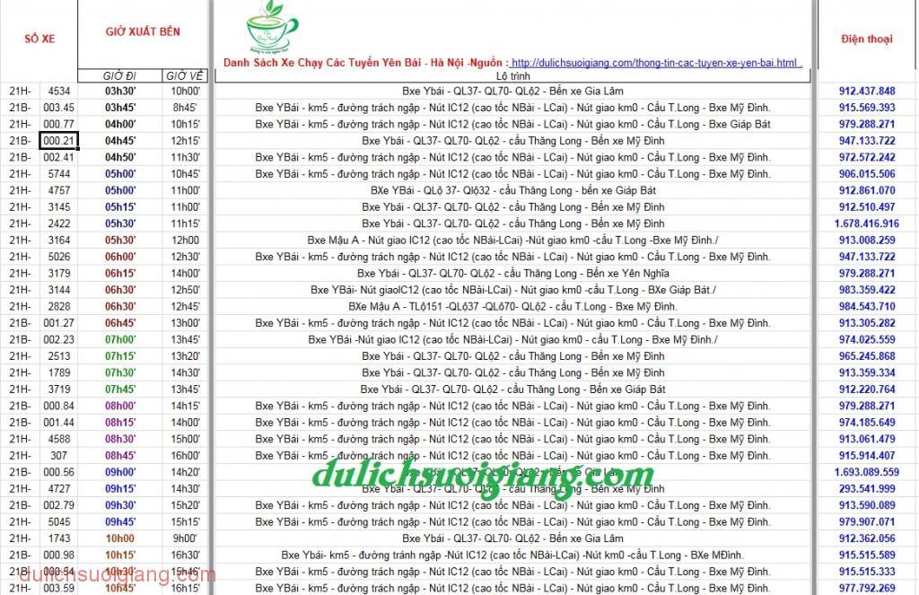 Thông tin các tuyến xe khách  Yên Bái
